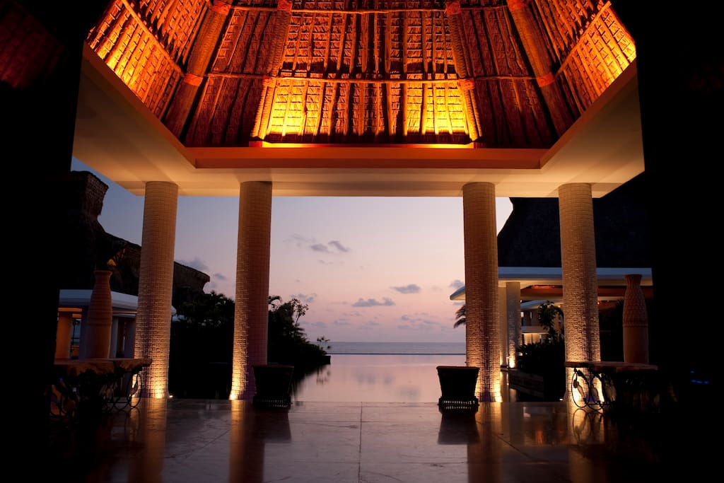 Enjoy sunsets framed by stunning modern architecture at the resort.