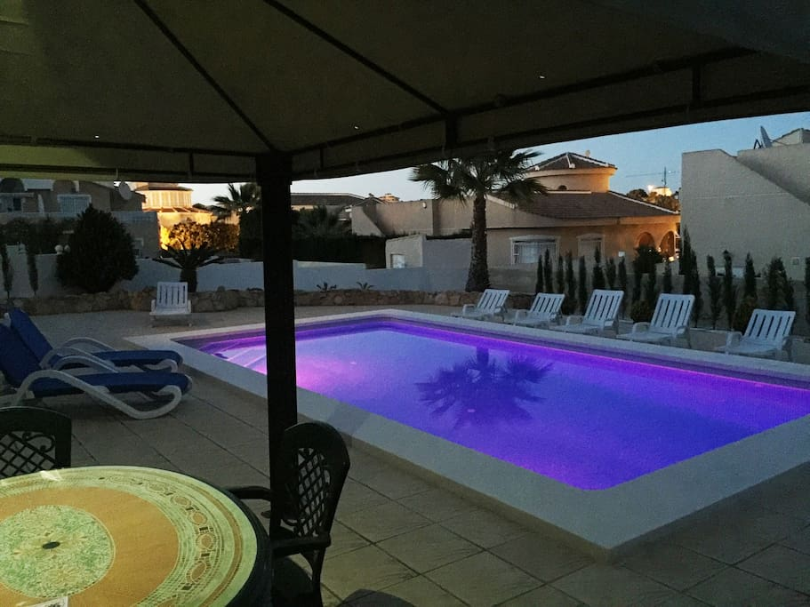 Swimming pool with led lights