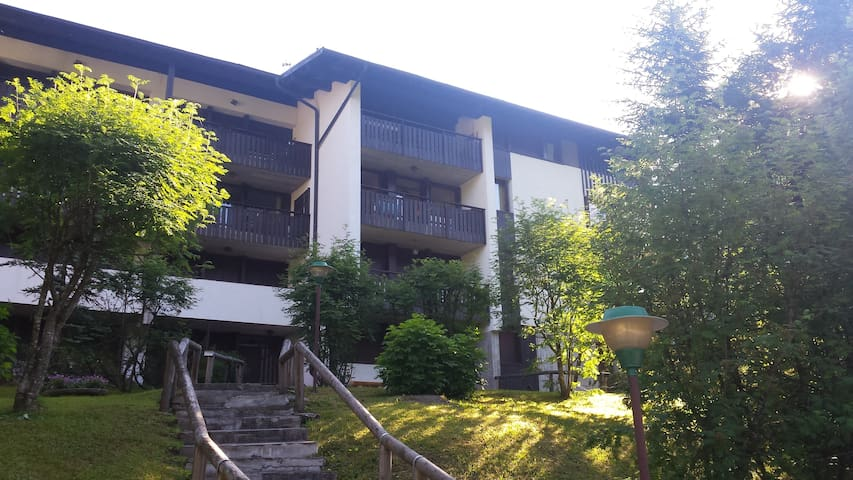 Entrance and view of the apartment balcony
