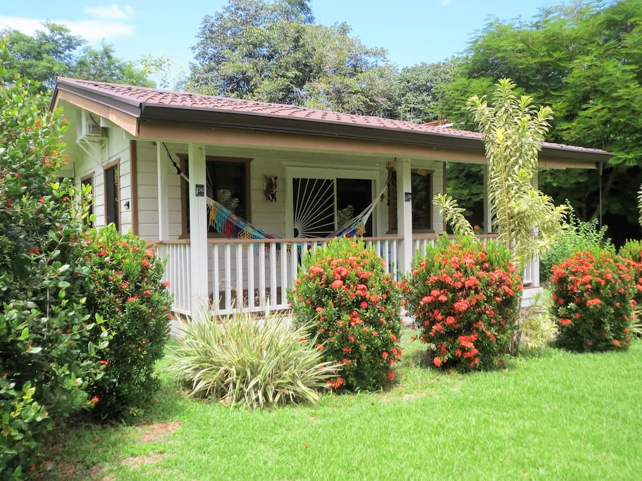 From the cottage  balcony you will enjoy a colorful river, jungle and garden view.