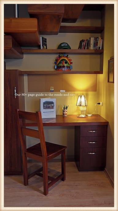 Custom built desk, bookcase, chair, and wardrobe