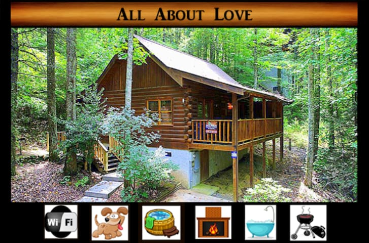 All About Love } Wifi / Hot Tub / Pet Friendly / Right off Pigeon Forge Parkway