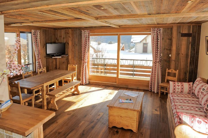 Charming family apartment, with a view of Mont Blanc