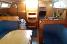 The salon, other side. Notice two rear cabins