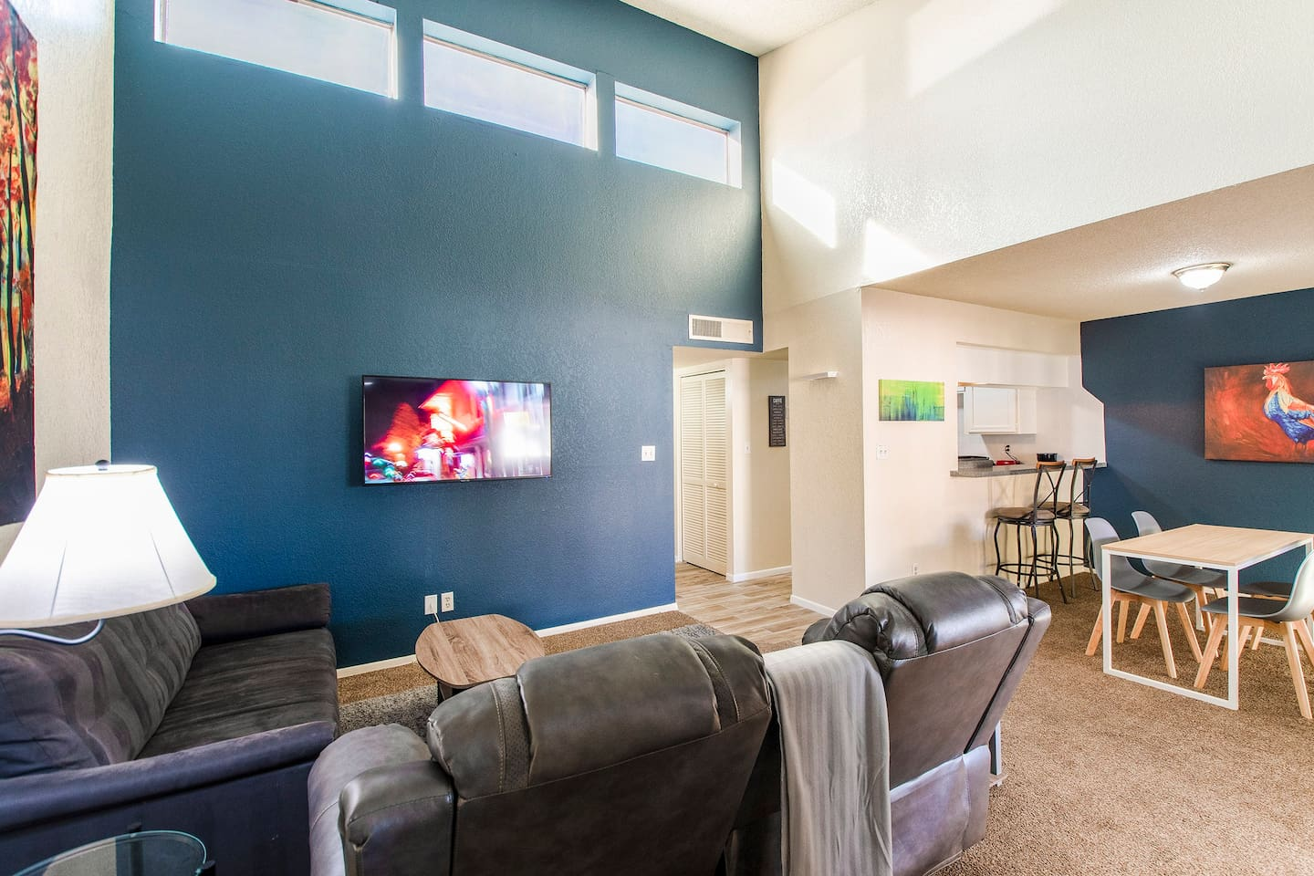 Spacious and modern 2bd 2ba condo w reclining seating and modern touches throughout