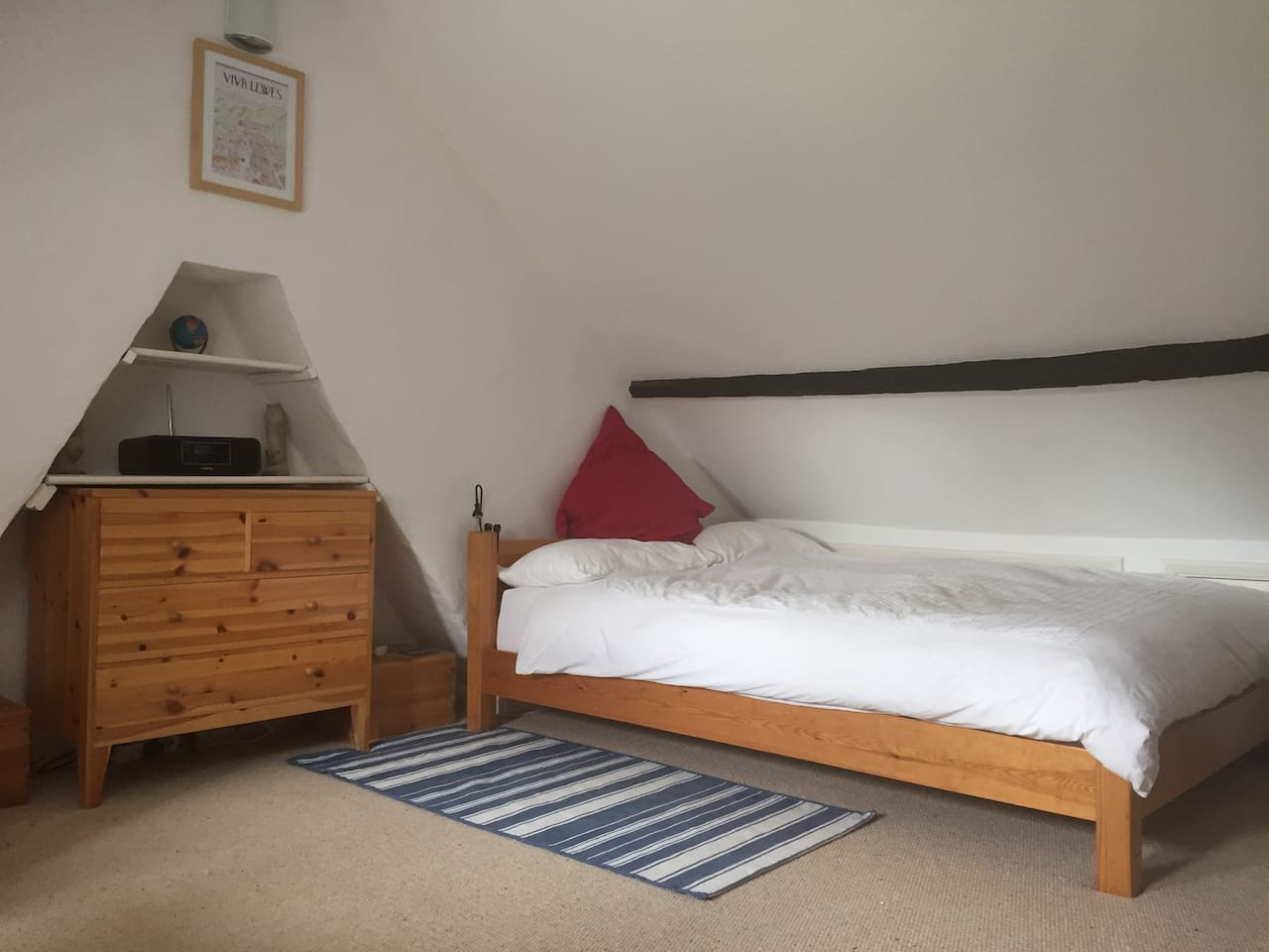 Large bright double bedroom with views of the Downs
