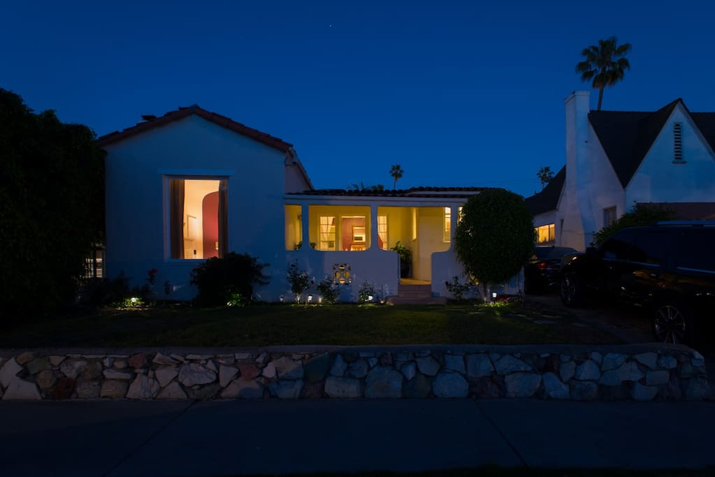 Twilight view of the Executive Smart Home's front exterior.