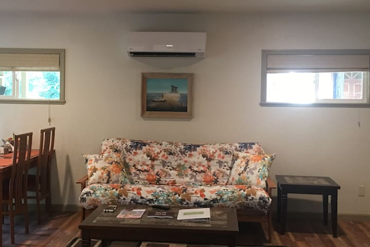 Living room with Brand new Heating and  and Cooling system and a comfy futon that converts to a full size bed!