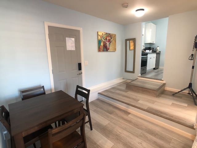 Dining area and entrance to kitchen