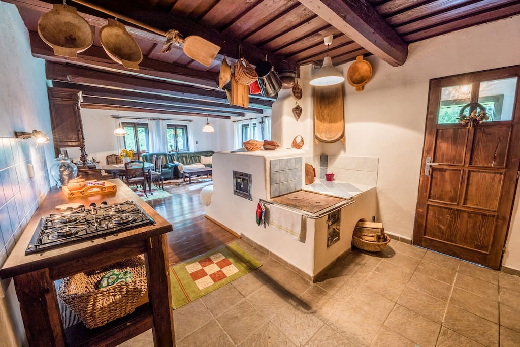 Fire stove and gas cooker are available in the kitchen.