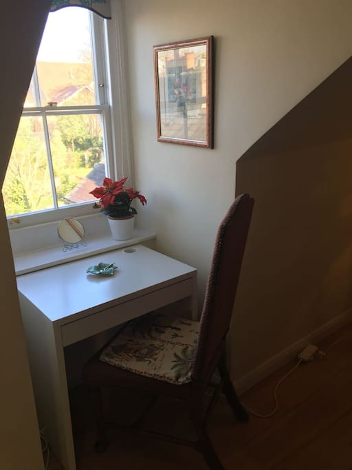 Desk in window with lovely garden view