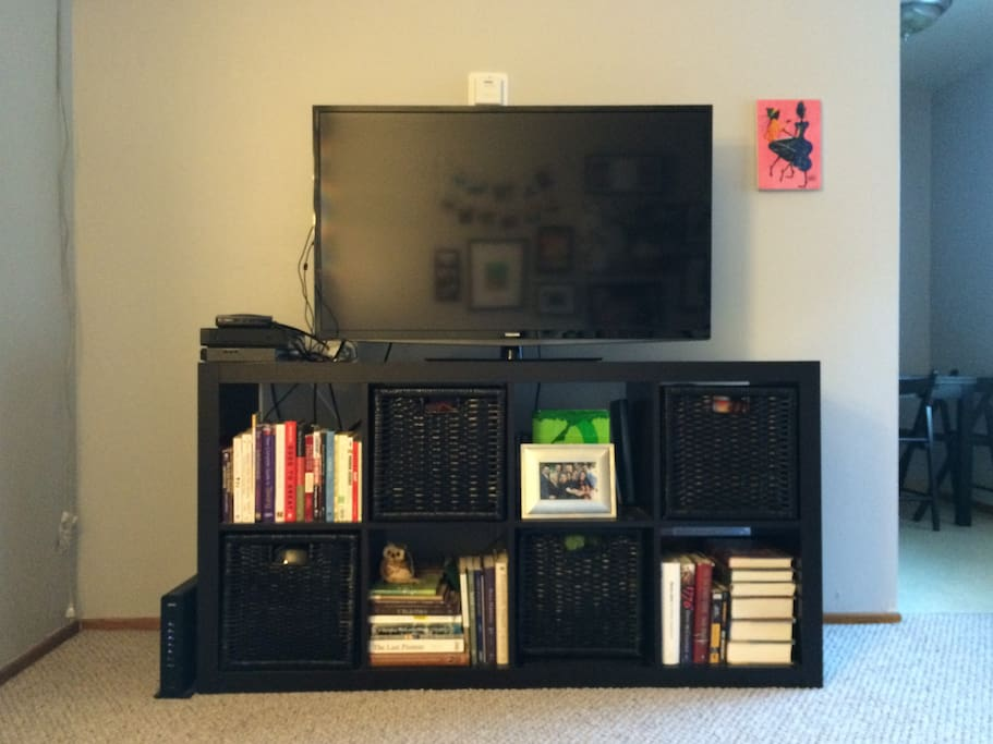 Big screen TV with Blu-ray and DVD player.  Netflix included.