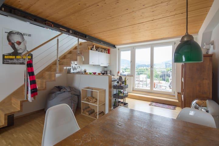 Dachwohnung mit Terrasse, top Ausstattung - Friburgo - Apartamento