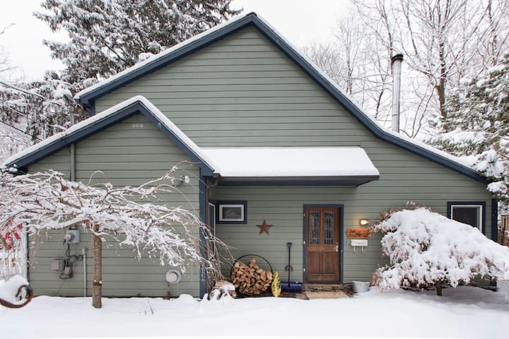 Cabin in town ~ wood stove, hot tub, dog friendly