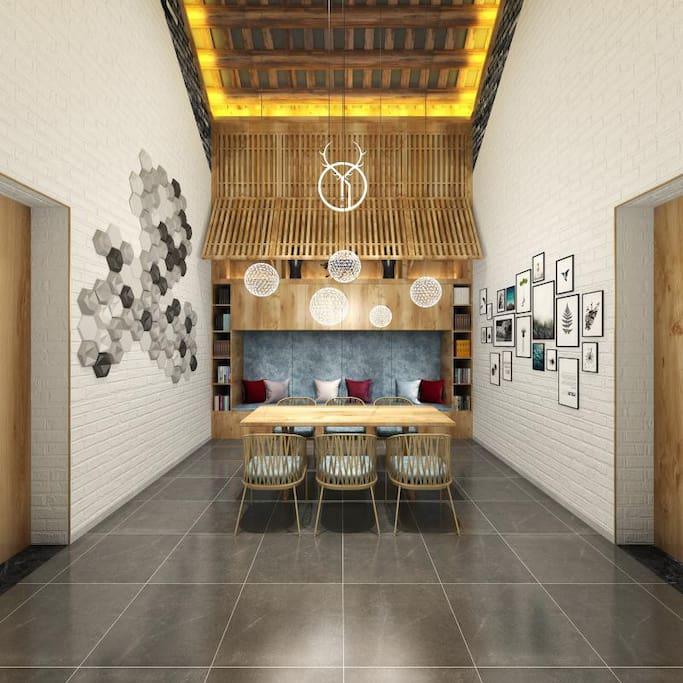 公共区域-后堂客厅&餐区全景图