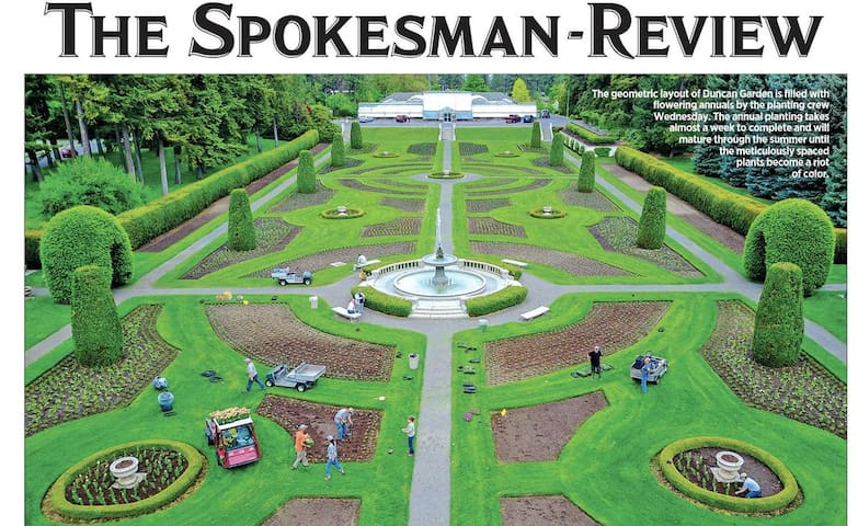 May 17, 2019 Spokesman Review cover with a photo of the planting process at Manito Park's Duncan Gardens