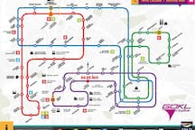 Free GO KL bus around KL City around, bus stop is 1min walking distance from the apartment