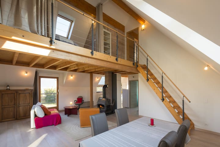 the loft is on two floors
