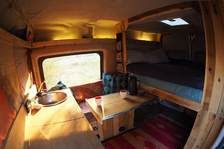 Homemade van conversion in picturesque valley