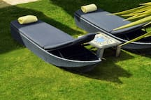 Sunbeds at the pool area