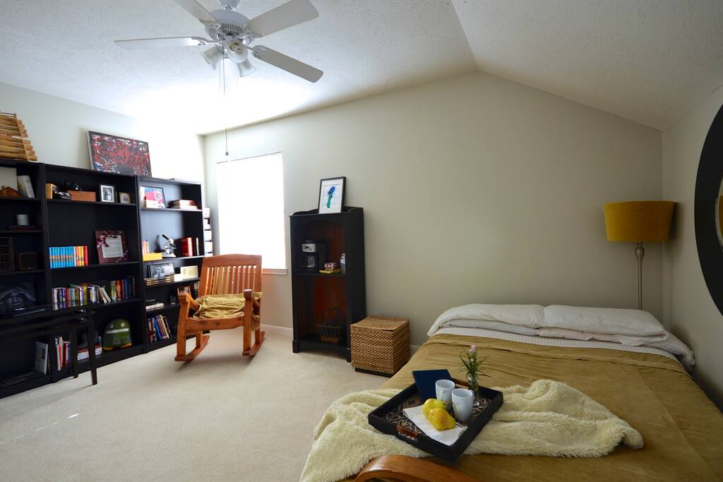 Large private room with wifi, walk in closet, shelves and hangers to make you feel at home