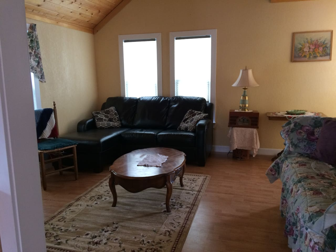 Living/TV room with couch & daybed