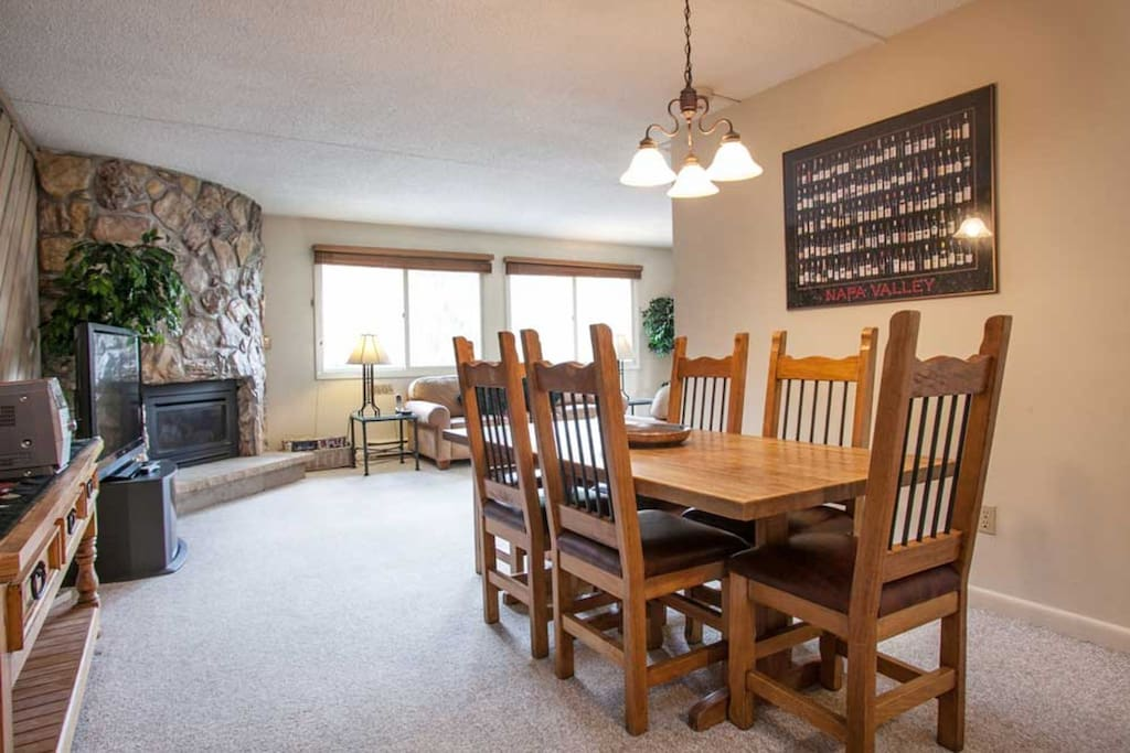 Gather around the dining table for 6 to enjoy meals or games with friends and family.