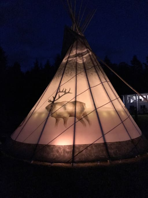 the beautiful glow of the TIPI at night.
