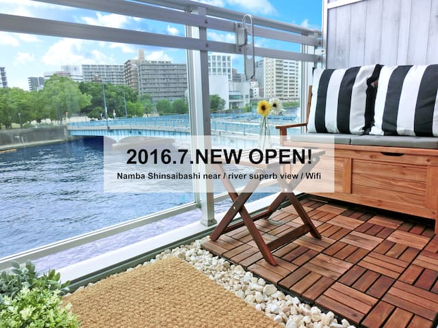 ★Namba Shinsaibashi 3min / river superb view/Wifi★ - Ōsaka-shi - Flat