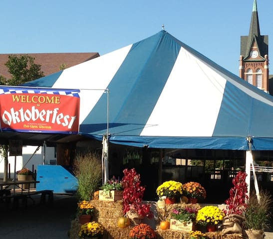Private parking 1 block from New Glarus festivals and activities