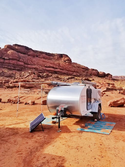 Fully equipped including solar power, shade awnings and camp rugs!