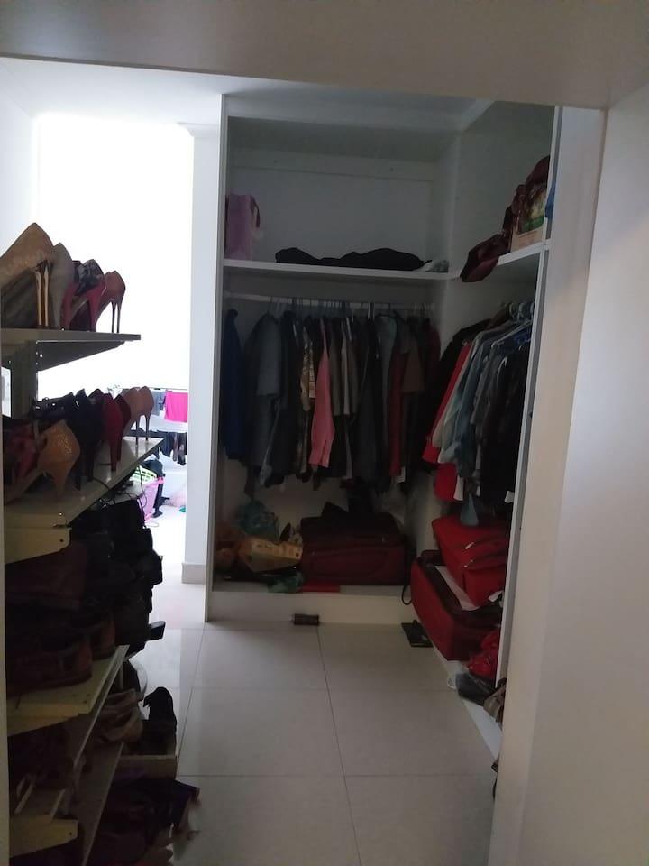Open Wardrobe room with shoe rack