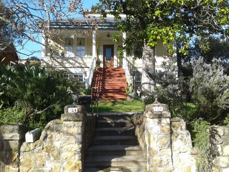 """The main entry to our house. You turn right (before the red steps) into the """"South Lawn"""" sitting area"""