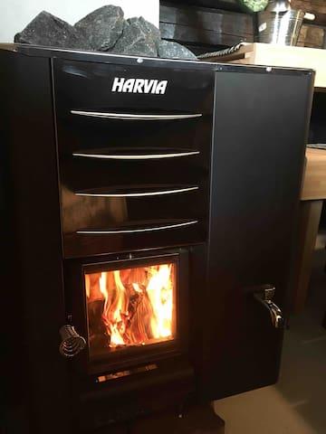 The Sauna stove and fire!
