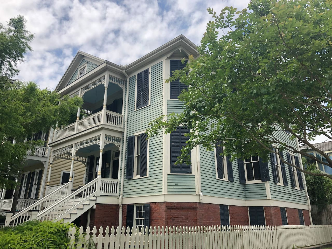 Sofie Hansen House. 2700 square feet.  4 bedrooms plus lots of spaces to entertain & to chill.  She is ensconsed on a corner lot.  In Galveston, this is the best location in its oldest district.