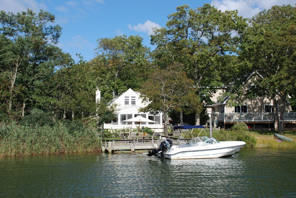 The house is directly on Fresh Pond, which is connected to the Peconic Bay