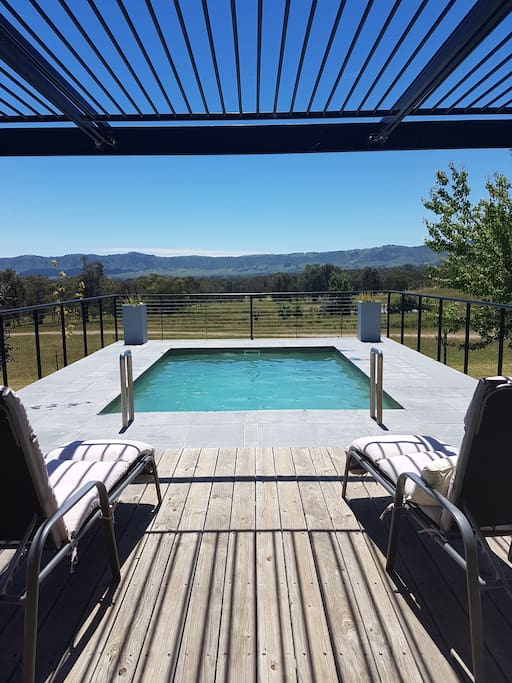 View from the deck with shared pool and the Murmungee basin in the background.