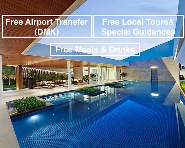 Peaceful house Free(24hrs)Ride-Don Mueang Airport - Bangkok - Casa