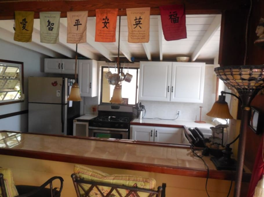 My little kitchen with gas stove to cook in.