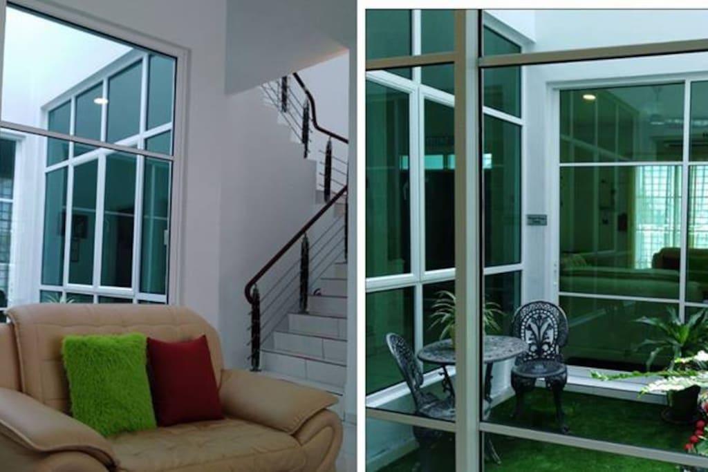 view - conner staircase &  indoor garden