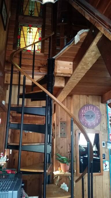 This is the narrow spiral staircase you climb up to the airbnb loft bedroom. (Don't bring suitcases - they just won't fit up the stairs- bring a duffel instead)!