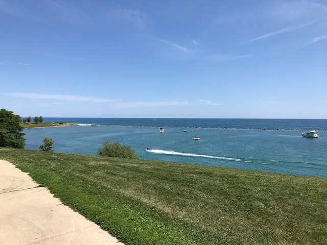 Just out the front door and across the street. The house is set back a bit from this view. This direction will take you right by a Frank Lloyd Wright designed home and into downtown Racine.