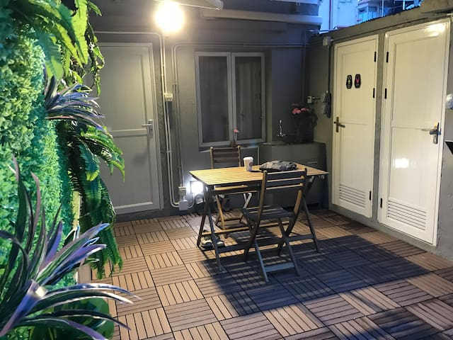 Night mood and relaxing outside, with bird songs occasionally.   Shower/ toilet booth next to kitchen. It is tight space but you can enjoy good hot showers after an exhausting tour-day !