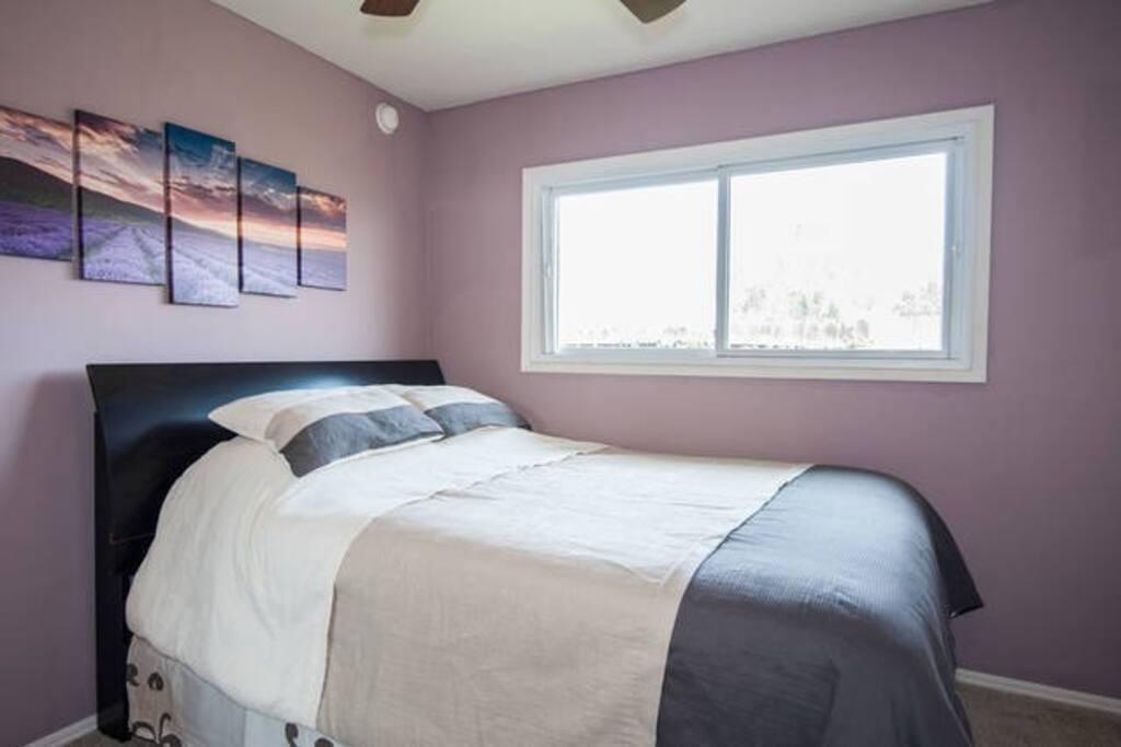 NEW Carpet, NEW Queen Organic Mattress, Desk, Ceiling fan, garden window connected bathroom