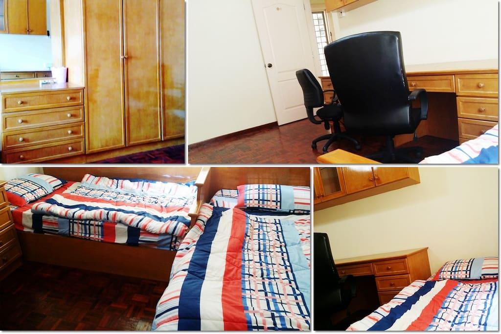 Wardrobe+Desk+Chair+Bed+AC+Fan