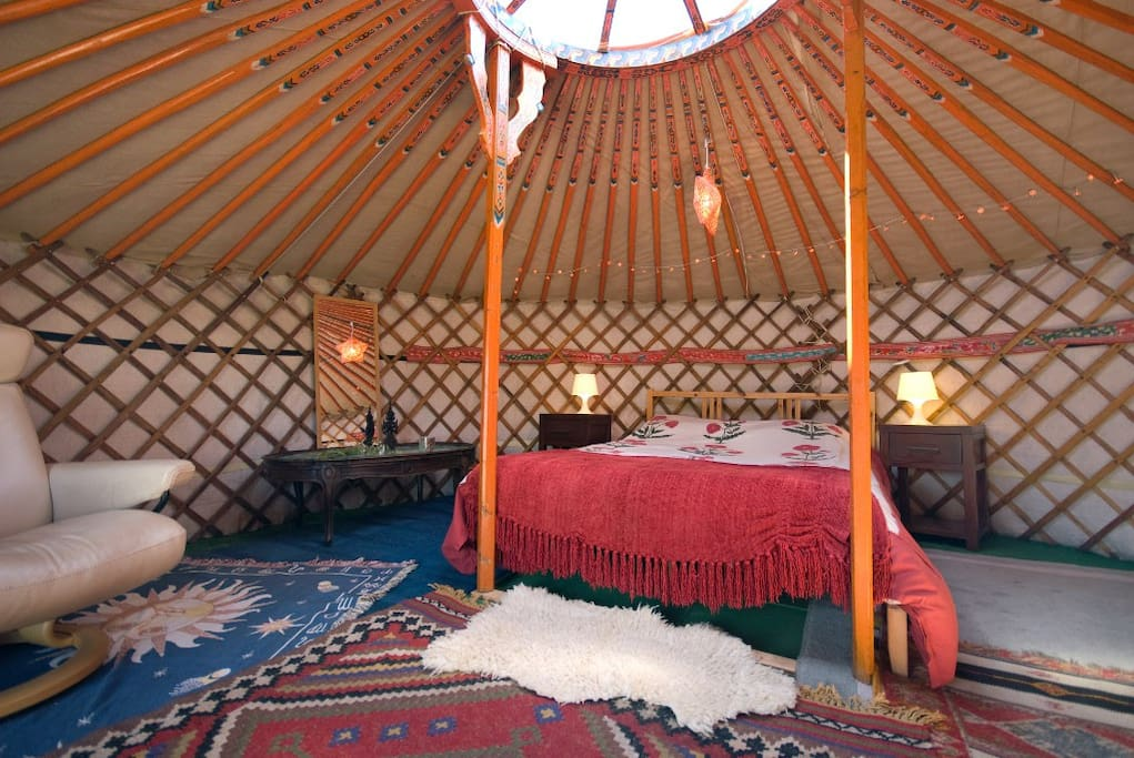 The yurt provides a beautifully cosy space.