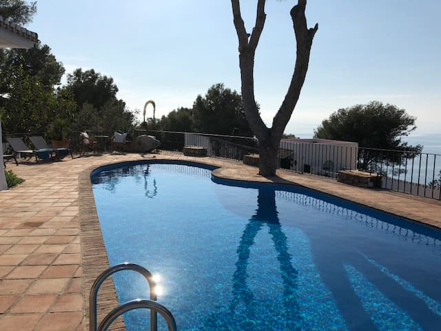 Large pool with connected outdoor dining area
