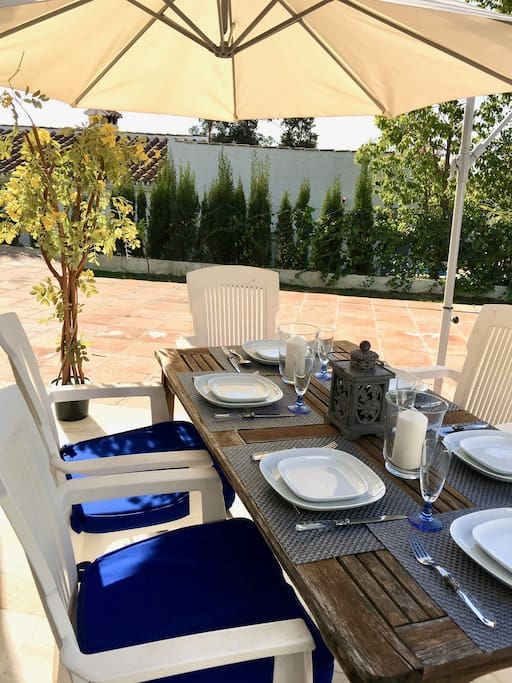 Outdoor dining table for evening dinner or pool-side lunch, seats 6
