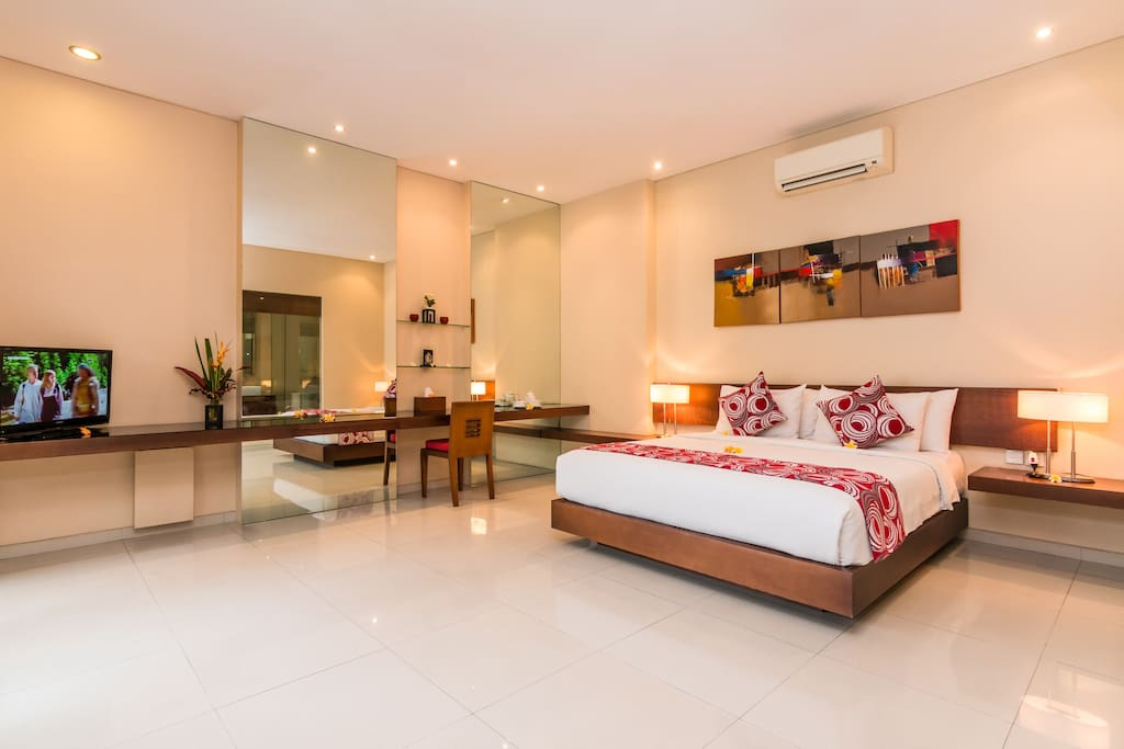 LCD TV with International satellite channel in each bedroom