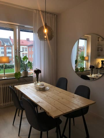 Mysig lägenhet i centrum med privat p-plats